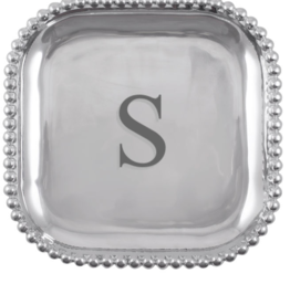 Mariposa Initial Pearled Square Platter - S