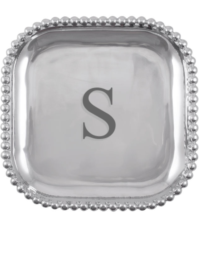 Mariposa Initial Pearled Square Platter - S