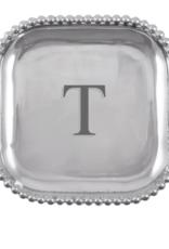 Mariposa Initial Pearled Square Platter - T