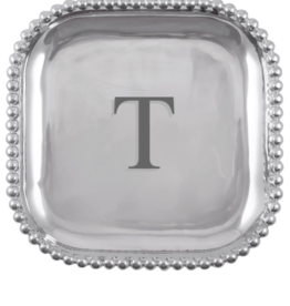 Mariposa Initial Pearled Square Platter - T