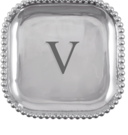 Mariposa Initial Pearled Square Platter - V