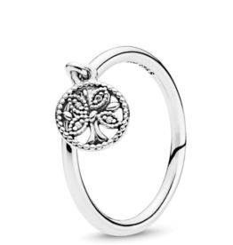 Pandora Tree of life silver ring with clear cubic zirconia