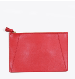 Neely & Chloe Flat Zippered Clutch Saffiano Leather - Scarlet