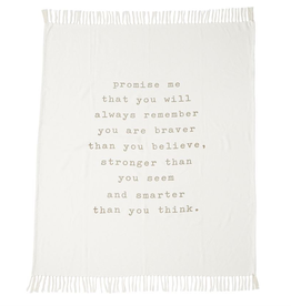 Powerful Message Tassel Throw
