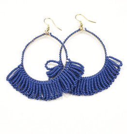 Fringe Hoop Seed Bead Earrings - Lapis Blue