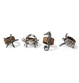 Sealife Wood Napkin Rings - Set of 4 Assorted
