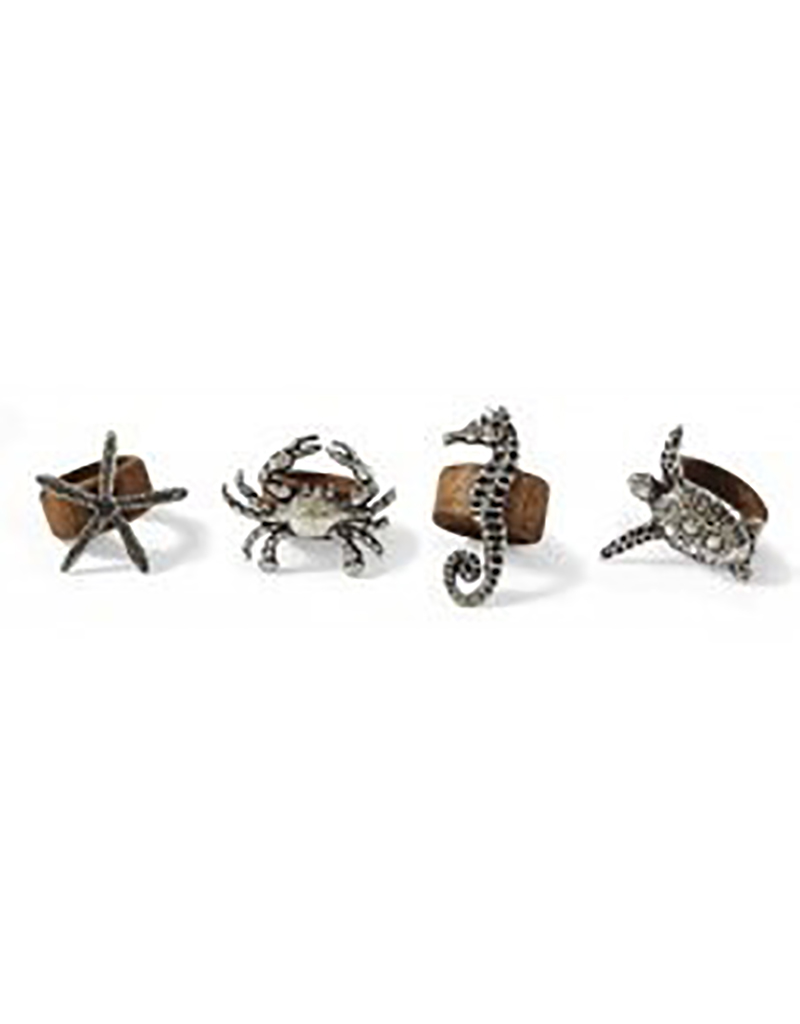 Sealife Wood Napkin Rings - Set of 4 Assorted