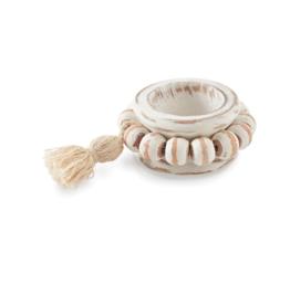 Beaded Wood Tassel Napkin Ring - Set of 2