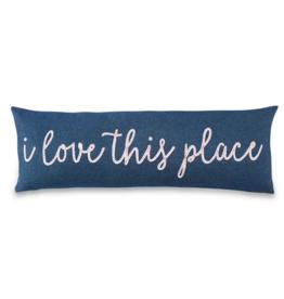 Love This Place Long Denim Pillow