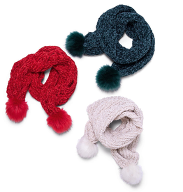 Knit Scarf with Pom Poms - Assorted Colors