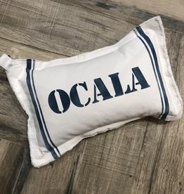 """Small White Pillow 12""""x18"""" - Ocala w/ Stripes - Blue"""