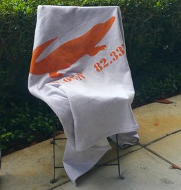 "Orange Gator Sweatshirt Blanket 50""x60"" - Gator/ 29.65N 82.33W"