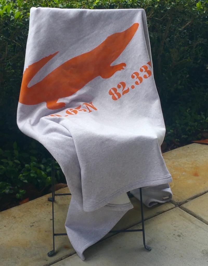 """Orange Gator Sweatshirt Blanket 50""""x60"""" - Gator/ 29.65N 82.33W"""