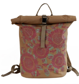 Sackai Rolltop Backpack - Khaki Pink Sunflowers