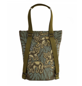 Sackai Tote Backpack - Green Cats