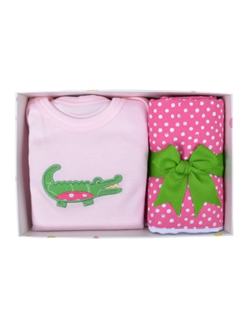 Alligator Onesie and Fabric Burp Pad Box Set - Pink
