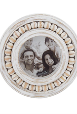 White-Washed Beaded Small Circular Frame