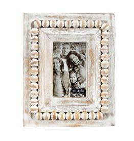 White-Washed Beaded Small Rectangular Frame