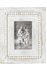 White-Washed Rectangle Beaded Frame
