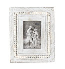 White-Washed Rectangle Beaded Frame