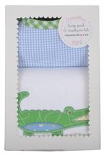 Alligator Burp Pad & Bib Set - Blue