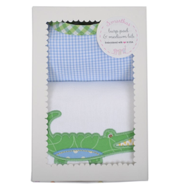 Alligator Burp Pad & Bib Set - Blue
