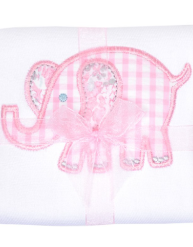 Pastel Elephant Burp Pad - Pink
