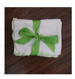 Lettuce Leaf Receiving Blanket - White/Sage