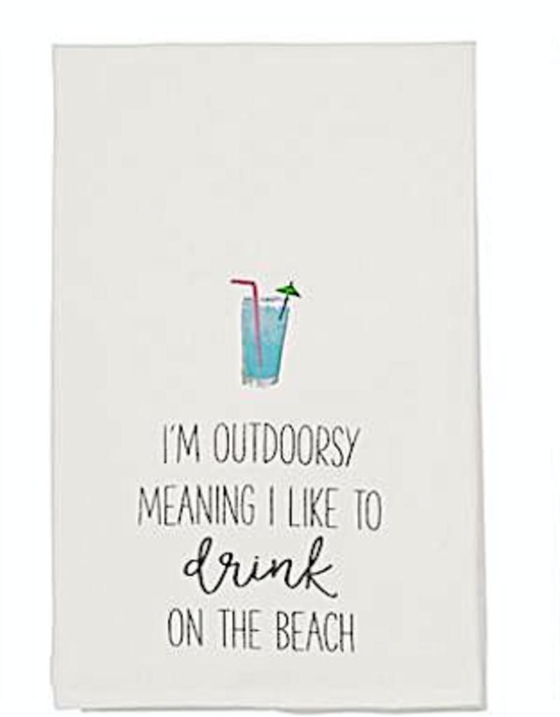 Beach Drinking Hand Towel - I'm Outdoorsy