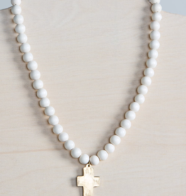 Cross Pendant Necklace - White