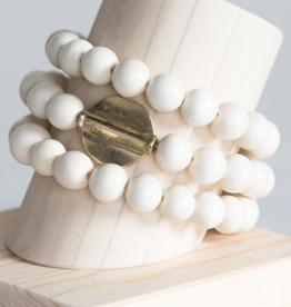 Golden Disc Wrap Bracelet - White