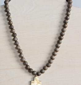 Cross Pendant Necklace - Gray