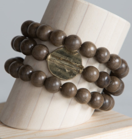 Golden Disc Wrap Bracelet - Gray
