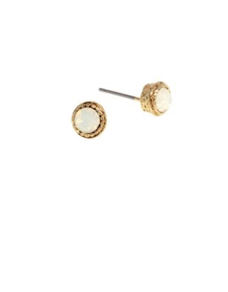 Gold Opal Stud Earring - White