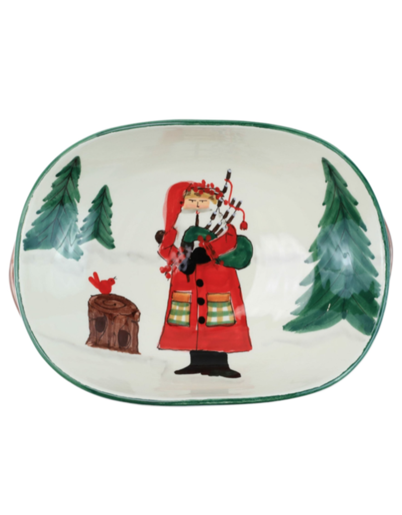 Vietri Old St. Nick Handled Shallow Oval Bowl - Santa with  Bagpipes