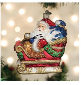 Old World Christmas Santa In Sleigh Ornament