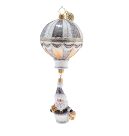 Christopher Radko Wintry Air Balloon! Santa Christmas Ornament