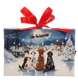 "Dogs Watching Santa LED Lit Print Ornament w/ Easel - 6"""