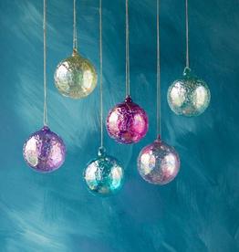 Ripple Iridescent Ball Glass Ornament