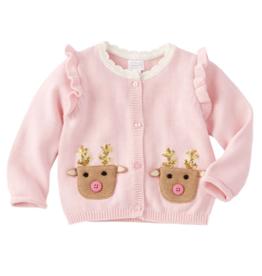 Pink Reindeer Cardigan - 9-12 Months