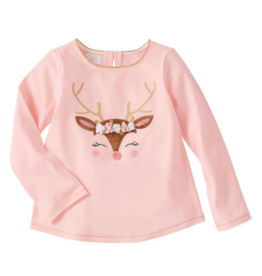 Pink Reindeer Glitter All The Way Tee - Small
