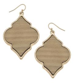 Wood Quatrefoil Earrings In Ivory
