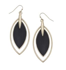 Velvet Marquis Earrings Necklace - Black