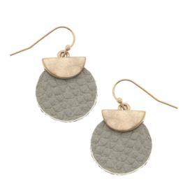 Python Embossed Mini Disc Earrings - Grey