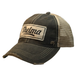 Thelma Black Distressed Trucker Hat