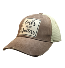 Corks are for Quitters Tan Distressed Trucker Hat