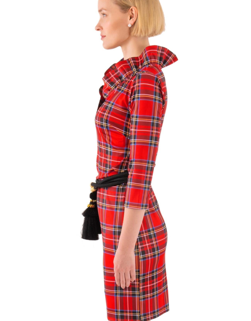 Gretchen Scott Jersey Ruffneck Dress - Duke of York Red - X-Large