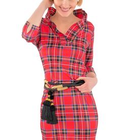 Gretchen Scott Jersey Ruffneck Dress - Duke of York Red - Goddess