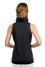 Gretchen Scott Jersey Sleeveless Ruffneck Top Black - X-Large