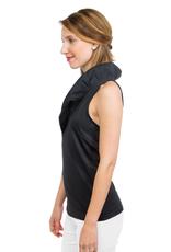 Gretchen Scott Jersey Sleeveless Ruffneck Top Black - Large